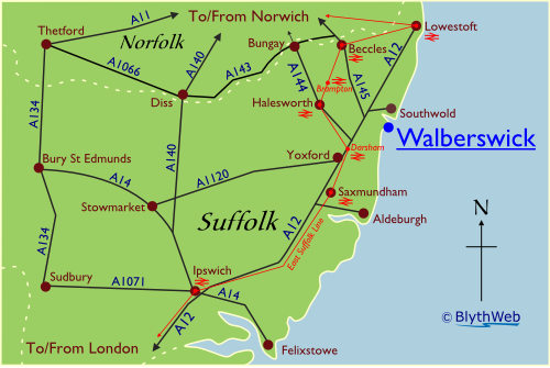 Location of Walberswick in Suffolk